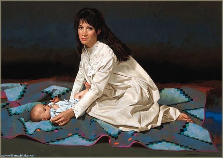 "Nancy and Kaedon 30 x 40"" oil on canvas 1995"